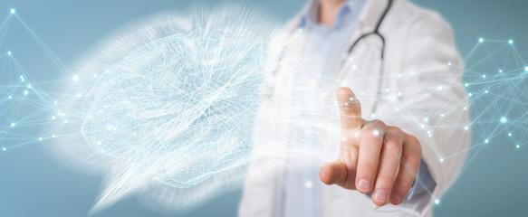Doctor holding digital brain interface 3D rendering © sdecoret