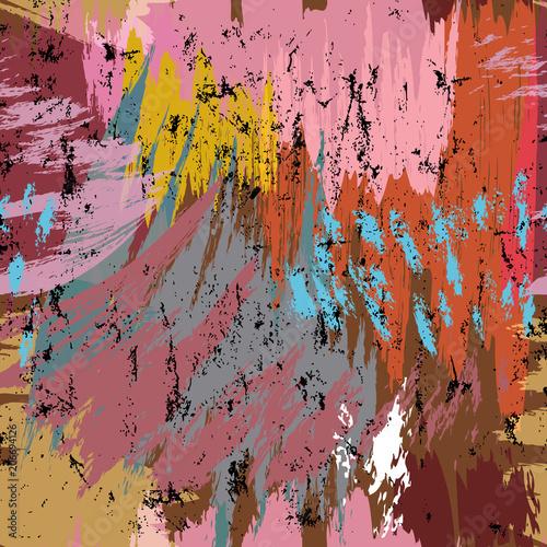 Fotobehang Abstract met Penseelstreken seamless abstract vector art pattern, with circles, strokes and splashes
