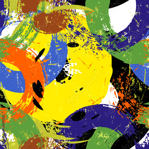 Fotobehang Abstract met Penseelstreken seamless vector art pattern, with circles, strokes and splashes