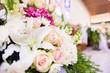 Leinwanddruck Bild - Bridal Flower bouquet in church