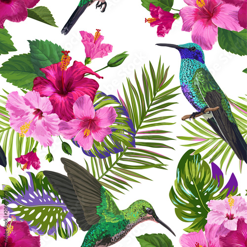 Tropical Seamless Pattern with Hummingbirds, Exotic Hibiskus Flowers and Palm Leaves. Floral Background with Colibri Birds for Fabric, Textile, Wallpaper. Vector illustration - 206695909