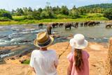 Kids watching elephants - 206698177