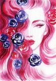 beautiful woman. fashion illustration. watercolor painting - 206700748