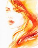 beautiful woman. fashion illustration. watercolor painting - 206700768