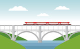 Vector illustration with bridge and train.