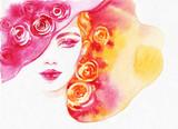 beautiful woman. fashion illustration. watercolor painting - 206701138