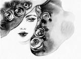 beautiful woman. fashion illustration. watercolor painting - 206701164