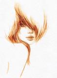 beautiful woman. fashion illustration. watercolor painting - 206701187