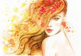 beautiful woman. fashion illustration. watercolor painting - 206701702