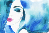 beautiful woman. fashion illustration. watercolor painting - 206701736
