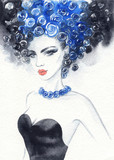 beautiful woman. fashion illustration. watercolor painting - 206701914