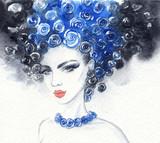 beautiful woman. fashion illustration. watercolor painting - 206701931