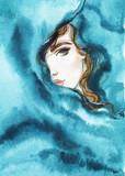 beautiful woman. fashion illustration. watercolor painting - 206701982