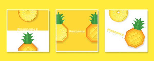Set of fruit banners with pineapple in paper art style , vector , illustration © littleartvector