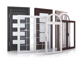 Advertising windows and doors on white background