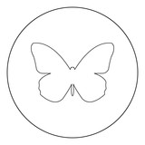 Butterfly  icon black color in circle