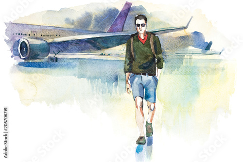 Arrival. Man traveler going from plane to airport. Tourist passager walking from aircraft to terminal.