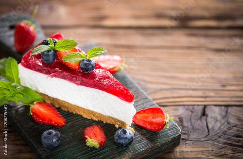 Sticker Homemade cheesecake with fresh berries