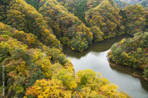 Canvas Honing Landscape of Ryujin dam lake from Ryujin Big Suspension Bridge
