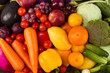 Quadro Wellness of Diet program with healthy eating vegetable and fruits, red green orange and purple color of mixed vegetable background