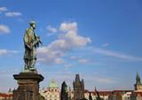 statue of John of Nepomuk at Charles Bridge in  Czech Republic