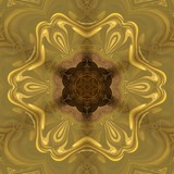 Abstract gold rich ornament. Sacred geometry art. Luxury kaleidoscopic golden mandala artwork. Fractal artistic decor. Creative pattern for print matter. Template for decoration of design products.