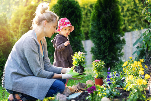 Poster mother and daughter planting flowers together in home garden bed