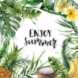 Watercolor Enjoy summer card. Hand painted floral illustration with banana and coconut palm branches, plumeria, coconut, pineapple isolated on white background for designor print. - 206735772