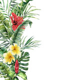 Watercolor tropical border with exotic leaves and flowers. Hand painted frame with palm leaves, branches, monstera, frangipani, hibiscus isolated on white background. Botanical illustration - 206735797