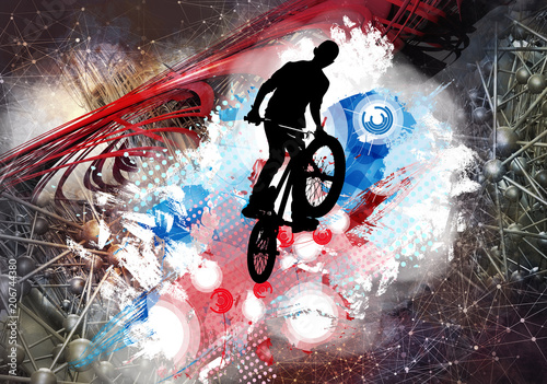 Illustration of bicycle jumper - 206744380