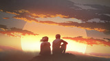 silhouette of a young couple sitting on a rock looking at the sunset, digital art style, illustration painting - 206747568