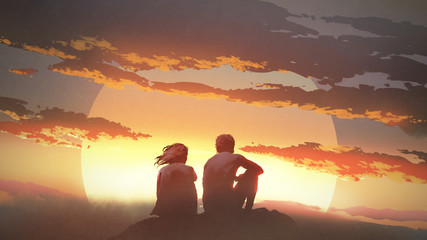 silhouette of a young couple sitting on a rock looking at the sunset, digital art style, illustration painting © grandfailure