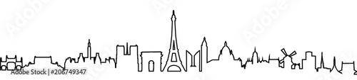 Paris silhouette one line - stock vector