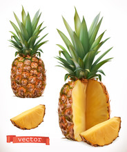 Pineapple Fresh Fruit 3d Realistic  Icon Sticker