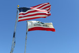 California state flag and American flag with blue sky background, waving in the wind - 206751791
