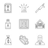 Illegal action icons set. Outline illustration of 9 illegal action vector icons for web - 206755308