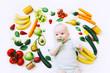 Leinwanddruck Bild - Healthy baby child nutrition, food background, top view.