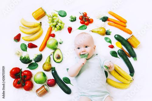 Leinwanddruck Bild Healthy baby child nutrition, food background, top view.