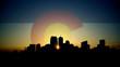 Denver Skyline Sunrise with Colorado Flag in Sky