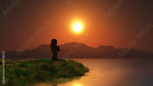 Fotobehang Diepbruine 3D female in yoga pose against a sunset sky