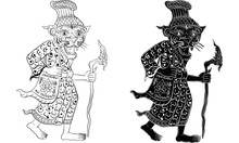 Thai Traditional Painting Tattoo Cracked Colour Painting Sticker