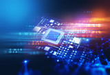 3d rendering  of futuristic blue circuit board - 206767179