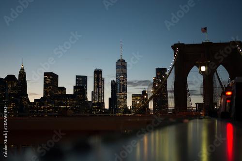 Aluminium Brooklyn Bridge Lower Manhattan Skyline from Brooklyn Bridge