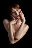 slim topless woman