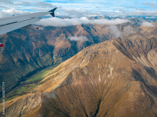 Aerial View from an Airplane Window flying over Queenstown, New Zealand - 206777179