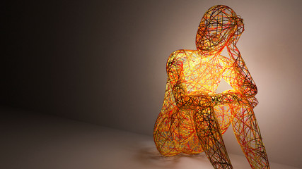 women 3d abstract figure sitting and thinking   © Tottem Torro