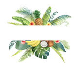 Watercolor vector banner tropical leaves and fruits isolated on white background. - 206780157