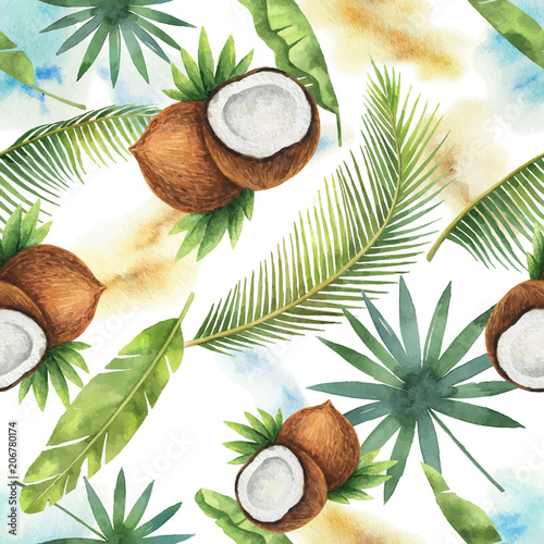 Watercolor vector seamless pattern of coconut and palm trees isolated on white background. - 206780174