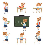 Cute schoolgirl student in uniform in various activities set, girl at lessons of biology, geography, mathematics vector Illustrations on a white background - 206781134