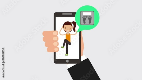 hand holding mobile girl online personal coaching training animation hd